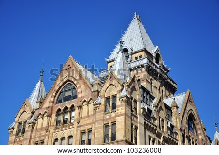 Roof of Syracuse Saving Bank at Clinton Square in downtown Syracuse, New York State, USA