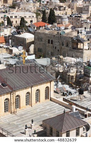 roof of the Old City of Jerusalem. Christian and the Muslim quarter.