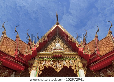 Roof of the temple at Wat Tham Sua in kanjanaburi, thailand.