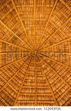 Roof of wood and straw - stock photo