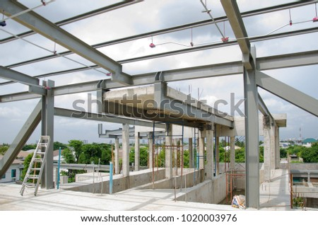 Roof steel structure and concrete structure of house in construction site #1020003976
