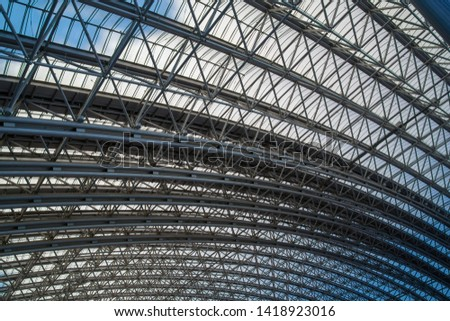 roof supporting metal structures. bottom view