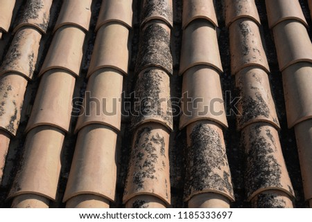 Roof tiles on a spanish house, province Alicante, Costa Blanca, Spain #1185333697