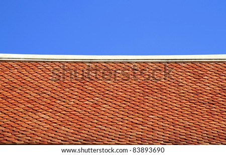 roof tiles texture and blue sky - stock photo