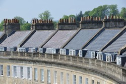 Roof Top View of a Georgian Crescent in Bath England