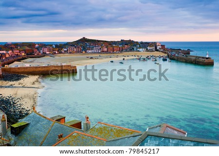 Roof top view of the harbour at St. Ives Cornwall UK