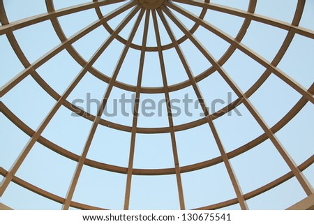 Roof top web on isolated blue sky