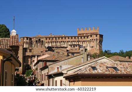 Roof Tops of Gradara, La Marche, Italy - stock photo