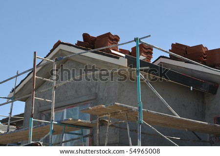 Roof Under Construction on Stucco Home