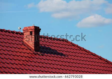 Roof with chimney, modern ceramic tile