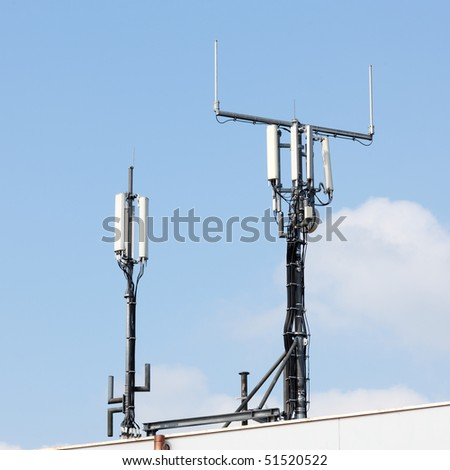 roof with network broadcasting antennas