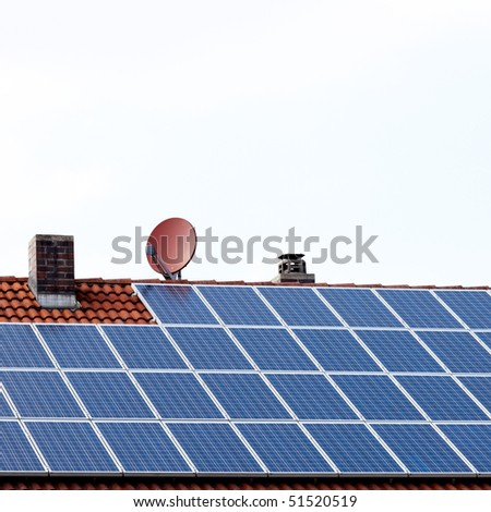 roof with satellite dish and solar panels