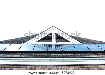 Roof with solar panels fragment