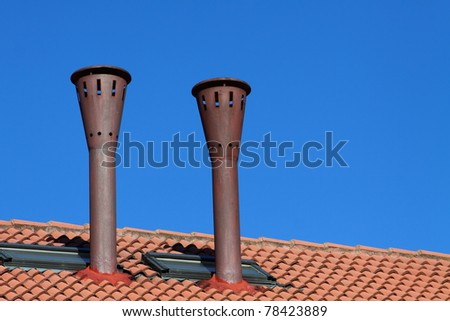 Roof with two chimney