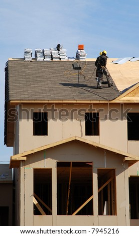Roofers On The Roof - vertical
