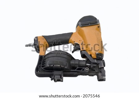 Roofing nail gun on white background