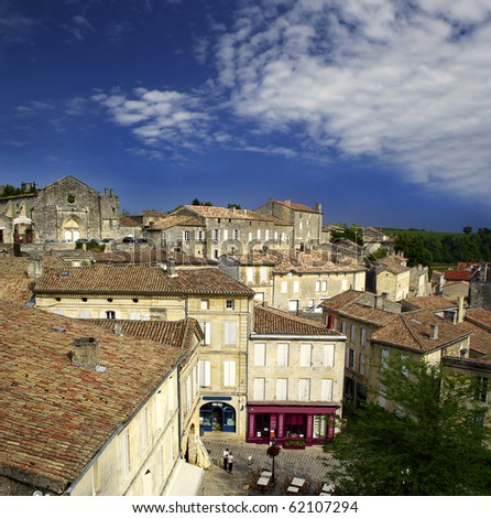 Roofs of buildings of Saint-Emilion, Gironde, Aquitaine, France - A UNESCO World Heritage Site.