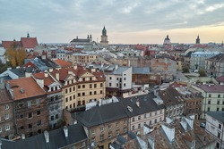 Roofs of old town of Lublin, Poland, quad copter view.