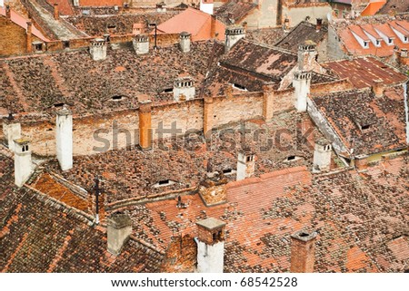 roofs of the old medieval city in Europe