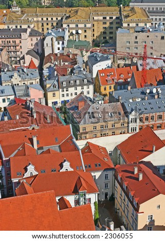 Roofs of the Riga city (Riga, Latvia).