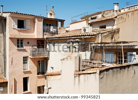 Roofs of traditional houses from XVII century in Aix en Provence town, France