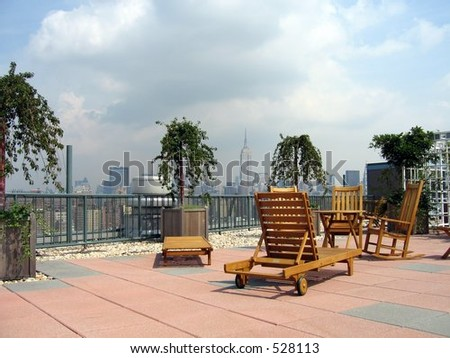 rooftop deck overlooking manhattan