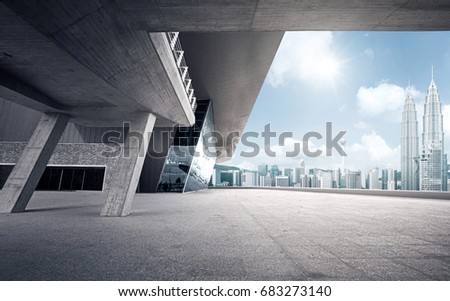 Rooftop modern building with empty ground #683273140