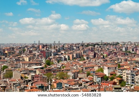 Rooftop panorama with many satellite dishes,  Istanbul, Turkey