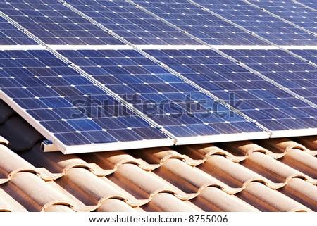 Rooftop solar panels - stock photo