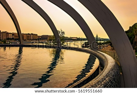 Photo of  Rooftop thermal pool Danube River. Rudas Thermal Bath and Spa Budapest, Hungary.