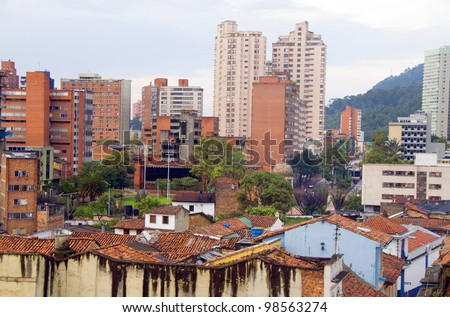 rooftop view La Candelaria Bogota Colombia colorful architecture historic and central business district South America