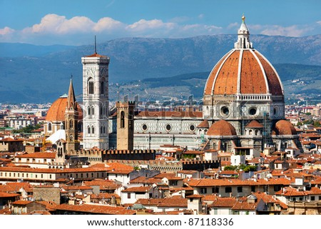 rooftop view of Basilica di Santa Maria del Fiore in Florence,Italy