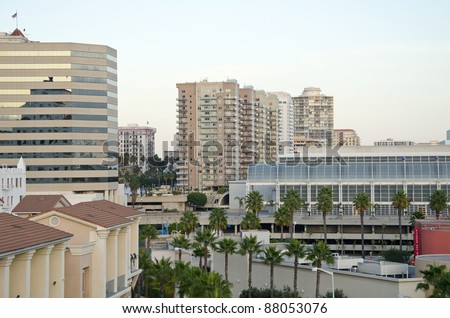 Rooftop view of Buildings in downtown Long Beach, California