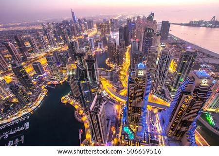Rooftop view of Dubai Marina area after sunset. Dubai, United Arab Emirates. #506659516