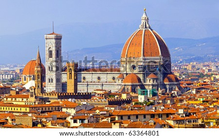 Rooftop view of medieval Duomo cathedral in Florence