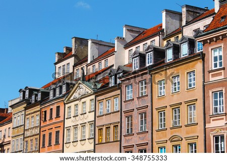 Rooftops of Buildings surounding Warsaw's Old Town Market Square or Rynek Starego Miasta. Barss Side or Strona Barssa Zdjęcia stock ©