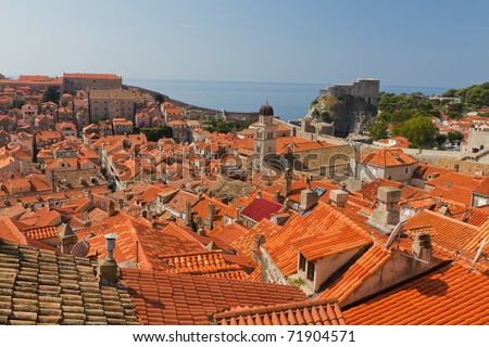 rooftops  of old town Dubrovnik with many old red roofed windows, Croatia