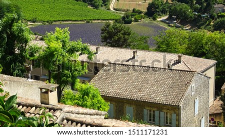 rooftops of Simiane la Rotonde village, view on typical provencal houses with violet lavender fields at background, Provence region, France, Europe, picture taken during lavender season in summer