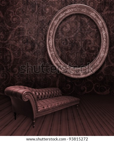 room couch and oval frame