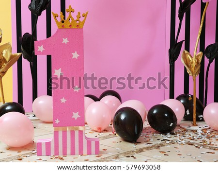 Room decorated for celebration of baby's first birthday