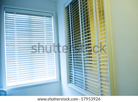 Room decoration with plastic sunblinds close up.