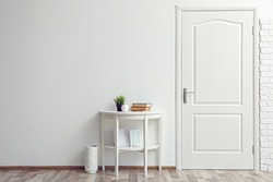 Room design interior with closed door