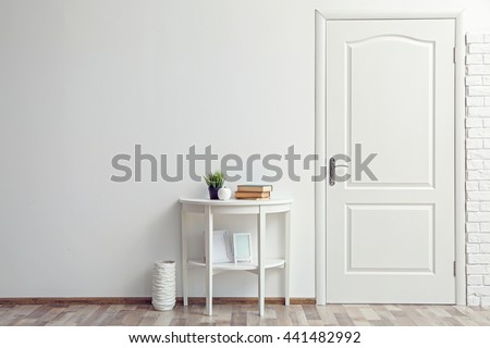 Room design interior with closed door