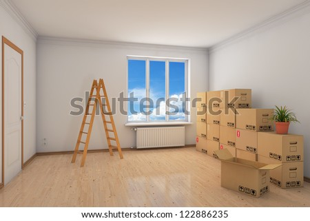 Room during relocation with many moving boxes and ladder