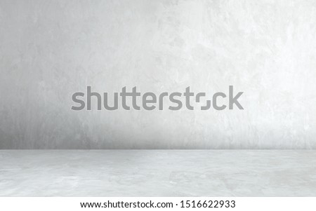 Room empty of cement floor with gray room cement or concrete wall texture background and sun light.