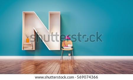 Room for learning The letter N has designed a bookshelf. 3d render and illustration.
