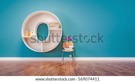 Room for learning The letter O has designed a bookshelf. 3d render and illustration.