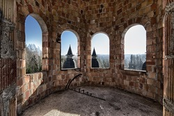 Room in an abandoned and damaged castle