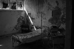 Room in an old abandoned hospital.