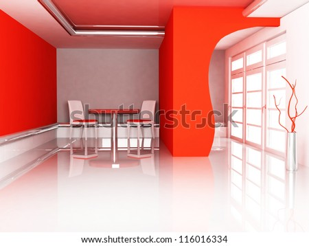 room in red color with a big window